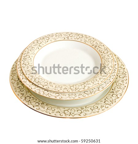 Pile of dishes isolated included clipping path