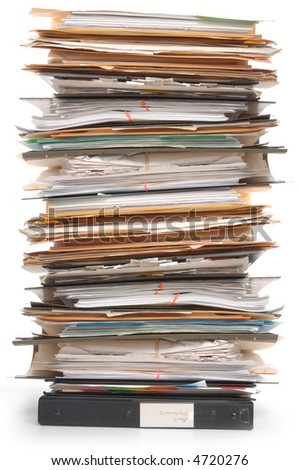 Pile of documents and file folders on white background