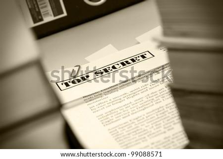 "Pile of documents ""Top Secret"" - stock photo"