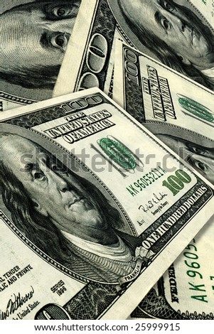 Pile of 100 dollar bills in U.S. currency. - stock photo