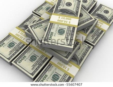 Pile of dollars - stock photo