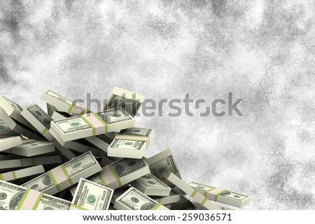 Pile of dollars against grey background - stock photo