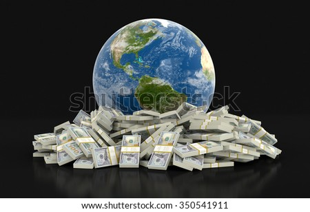 Pile of Dollars and globe (clipping path included) Elements of this image furnished by NASA - stock photo