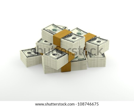 Pile of dollars isolated on white background - pile of money