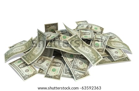 pile of dollars with white background