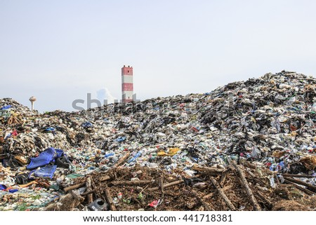 Pile of domestic garbage in landfill - stock photo