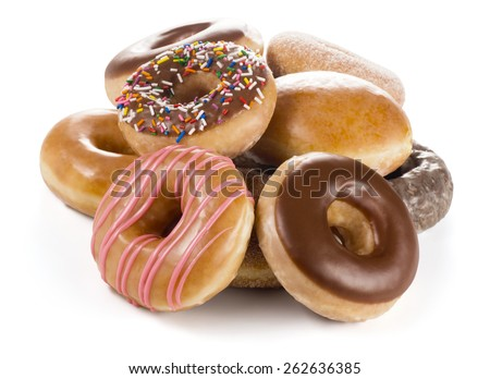 Pile of Donuts or Doughnuts Isolated on White - stock photo