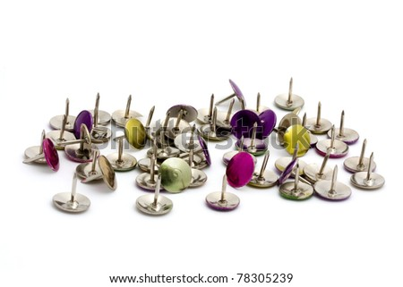 Pile of  drawing pins over white - stock photo