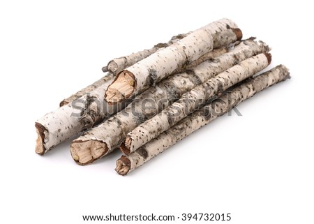 Pile of dry birch twigs isolated on white