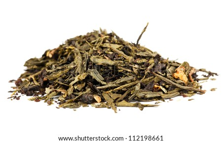 Pile of dry tea leaves isolated on white background - stock photo