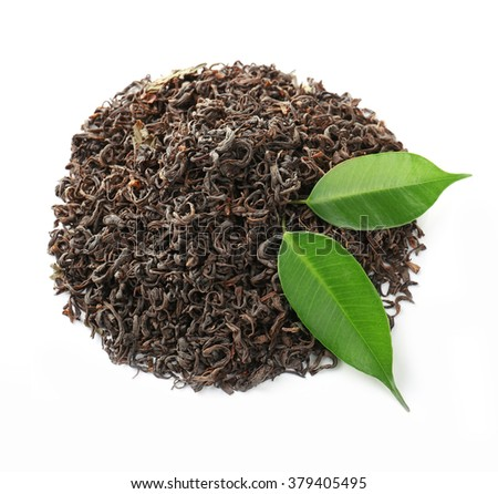Pile of dry tea with green leaves, isolated on white - stock photo