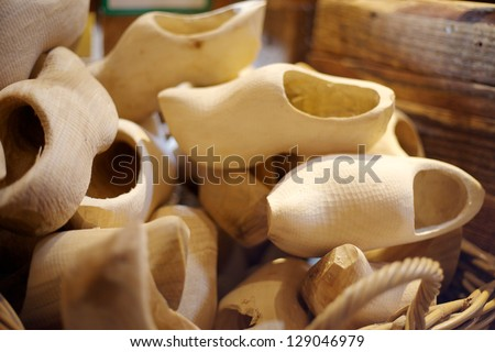 Pile of Dutch clog/Wooden Shoes being made