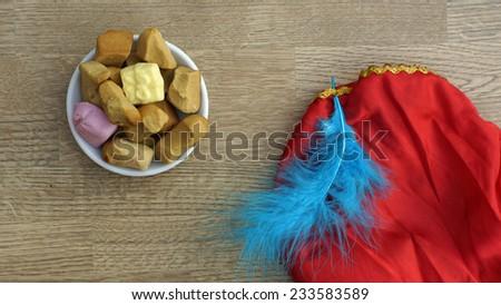 Pile of Dutch Pepernoten, typical Dutch treat for Sinterklaas on 5 december - stock photo