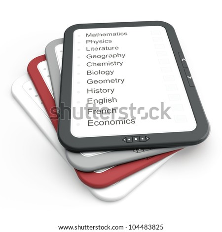 Pile of e-book of different colors. 3d render illustration - stock photo