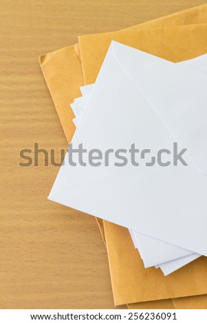 pile of envelope with  free space for text - stock photo