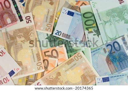 Pile of euro bills (as a background) - stock photo