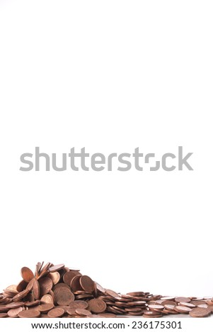 pile of euro cents, isolated on white - stock photo