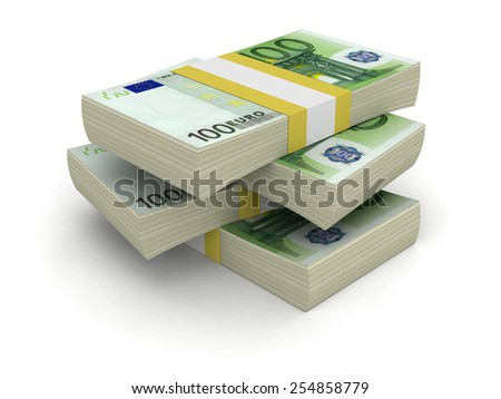 Pile of Euro (clipping path included) - stock photo
