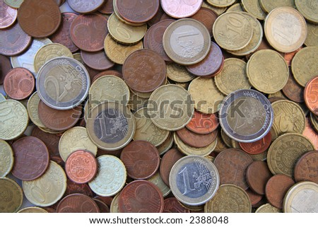 Pile of Euro Coins - stock photo