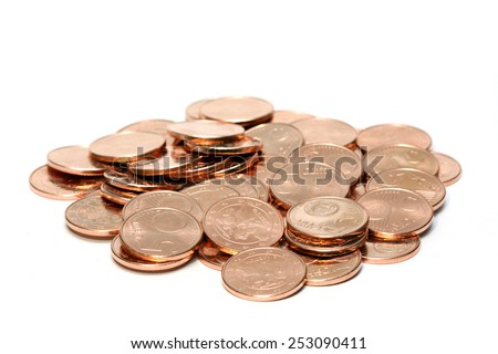 Pile of euro coins isolated on white - stock photo