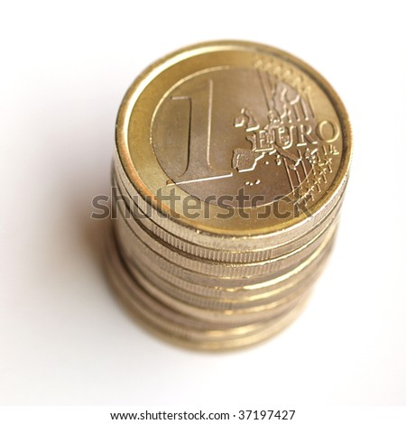 Pile of Euro coins money (European currency)