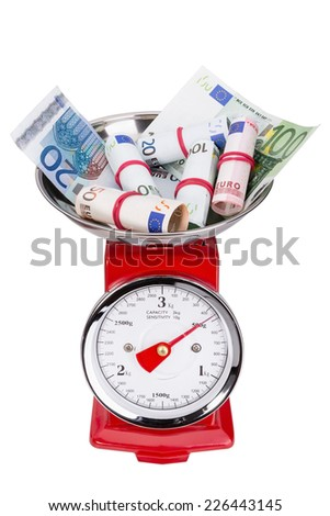 Pile of euro money on scales. Inflation in the euro area. - stock photo