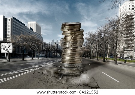 Pile of Euros falling down into the city: Economic and Financial crisis concept - stock photo