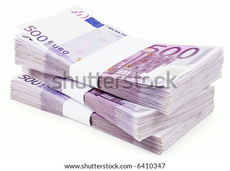 Pile of 500 Euros - isolated on white