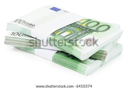 Pile of 100 Euros - isolated on white - stock photo