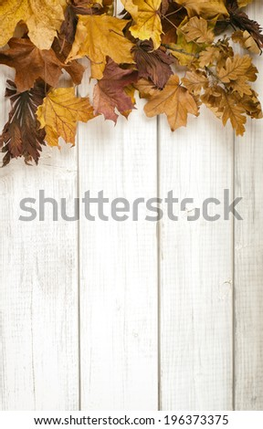 Pile of Fall Leaves on side of Rustic White Painted Wood Board background with room or space for copy, text.    Vertical vintage warm tones - stock photo