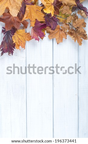 Pile of Fall Leaves on side of Rustic White Painted Wood Board background with room or space for copy, text.    Vertical vintage cross process - stock photo