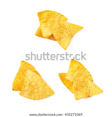 Pile of few corn tortilla chips isolated over the white background, set of three different foreshortenings