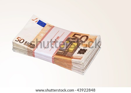 Pile of fifty euro notes on white background