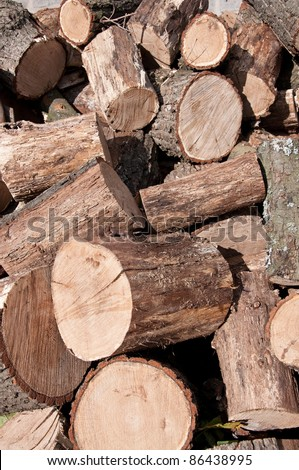 Pile of firewood. Natural material, alternative energy. - stock photo