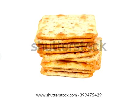 Pile of flour crackers with sugar isolated on a white background - stock photo