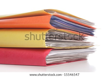 Pile of folders with old documents and bills - stock photo