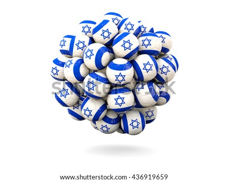 Pile of footballs with flag of israel. 3D illustration - stock photo