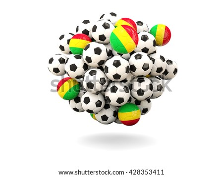 Pile of footballs with flag of mali. 3D illustration - stock photo