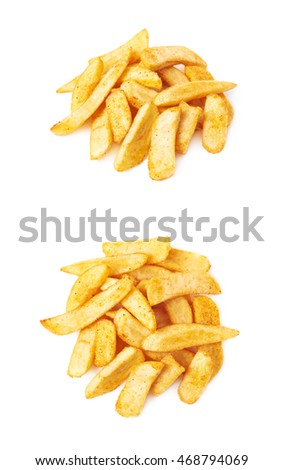 Pile of french fried potato chip slices isolated over the white background, set of two different foreshortenings
