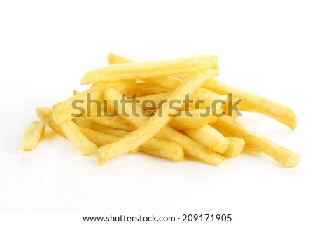 pile of French Fries isolated on white background