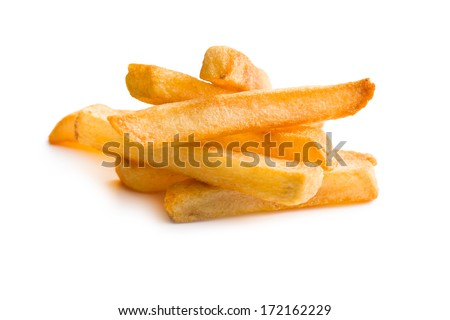 pile of french fries on white background - stock photo