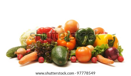 Pile of fresh and tasty fruits and vegetables isolated on white - stock photo