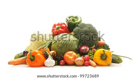 Pile of fresh and tasty fruits and vegetables isolated on white