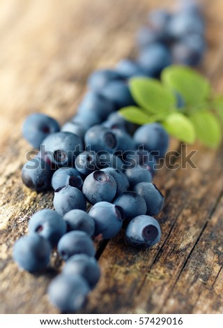 Pile of fresh blueberries,shallow focus - stock photo
