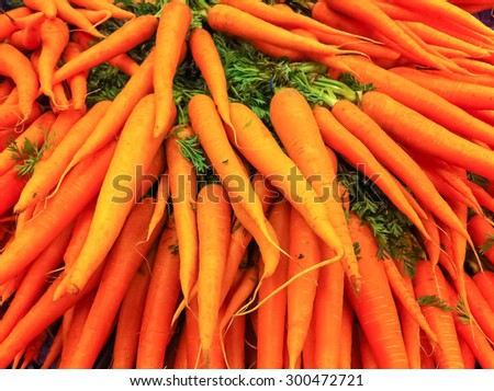Pile of fresh carrots for sale at the farmers market in the summer.