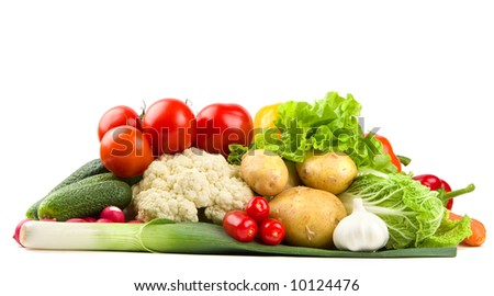 Pile of fresh colorful vegetables - stock photo