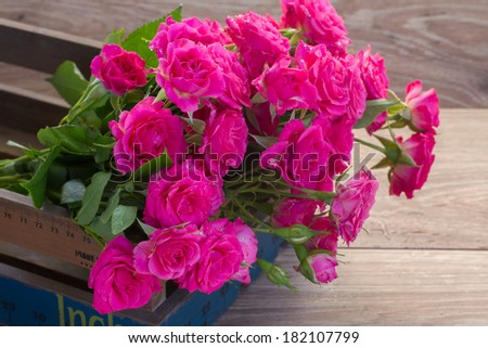 pile of fresh pink roses close up on wooden background