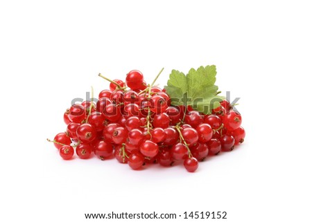 pile of fresh redcurrants isolated on white