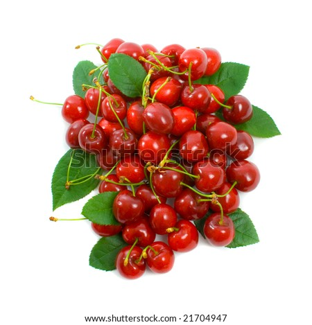 Pile of fresh ripe cherries isolated over white background