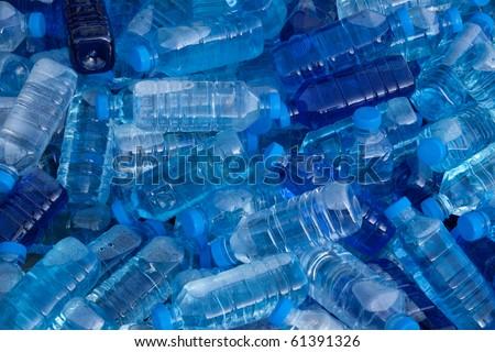 Pile of fresh water bottles - stock photo